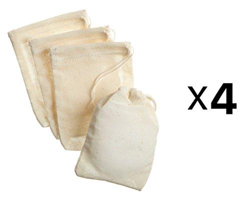 "Regency 4 Pc Muslin Bags 3X4"" Reusable w/ Drawstring Harold Import 66 (4-Pack)"
