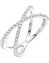 Elli Damen-Stapelring Wickelring 925 Silber Zirkonia weiß Brillantschliff - 0608691214