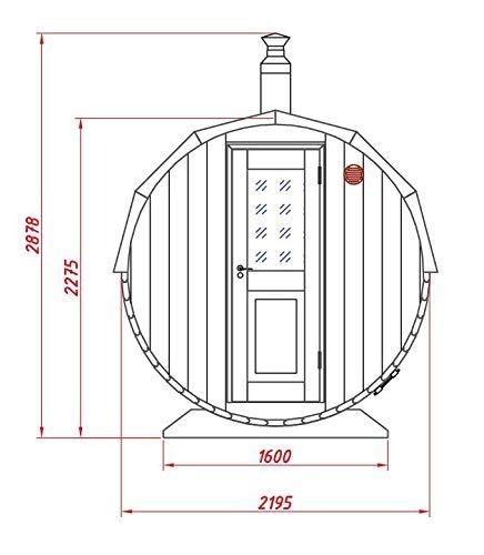 FinnTherm Fass-Sauna Sam, Premium-Thermoholz, inkl. Elektro-Ofen (6 kW) - 3