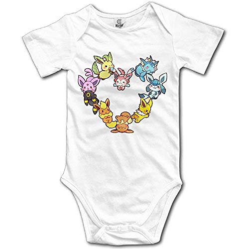 Bag shrots Cute Baby for 6 - 24 Months Newborn Baby Eevee Family Heart Shaped Short Sleeve White 12Months White Hearts Snap