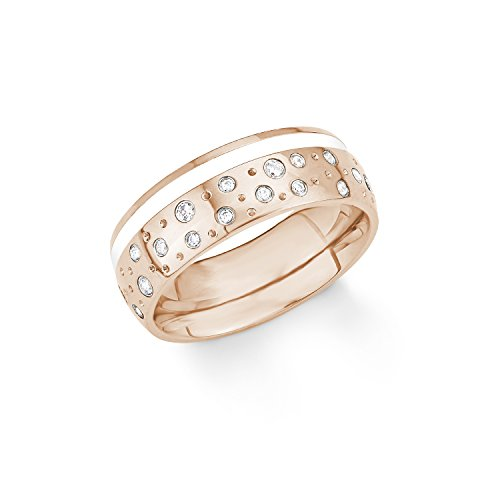 s.Oliver Damen-Ring Emailliert IP Rose Edelstahl Zirkonia weiß Gr. 56 (17.8)-2012557