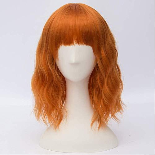 AHJSN 35cm Kurze Lockige Orange Promi Frauen Synthetische Cosplay Perücke Hitzebeständig + Perücke Kappe 14 Zoll Orange -