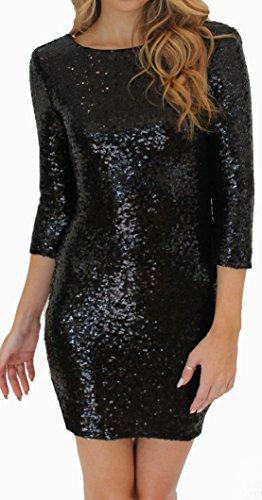 Donna Mini Vestito da Sera Partito Matita Vestiti a Paillettes Dress Maniche Lunghe Sexy Schiena Nuda Abiti Cerimonia Abito Festa di Natale Nero