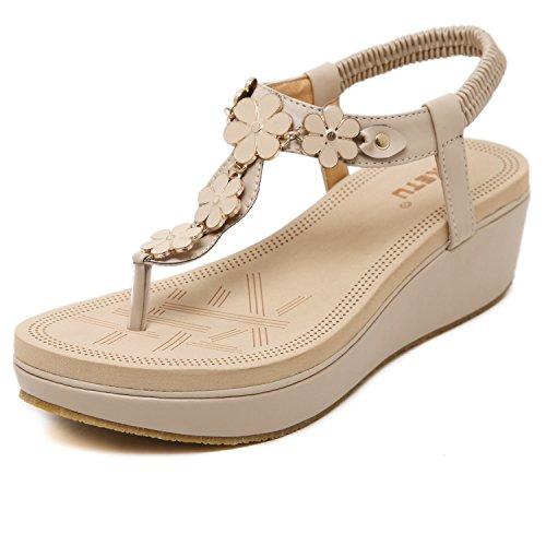 DQQ Damen Sandalen mit Schaumstoff-Keilabsatz und Zehentrenner, beige - aprikose - Größe: 38