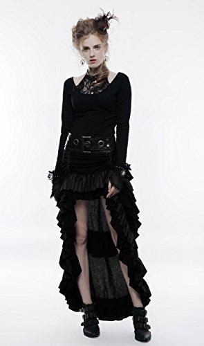 Jupe noire grosse ceinture décorative, steampunk western burlesque, punk rave Noir