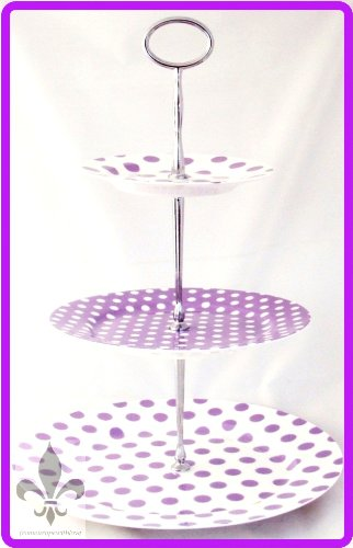 Pois pois Violet lavande Support à gâteau 3 étages en porcelaine Fine Violet Présentoir à gâteaux décoré à la main au Royaume-Uni, livraison gratuite UK - Fine Porcelaine