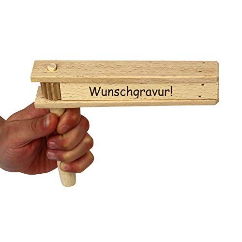 Holzratsche mit Namen - Gravur INKLUSIVE - Ratsche als kleine Geschenkidee, Krachmacher bei Sportveranstaltungen, Karnevalsumzug, Kinderfasching, etc