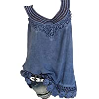 CRYYU Womens Plus Size Summer Lace Stitching Solid Sleeveless Tank Top Shirts Dark Blue 3XL