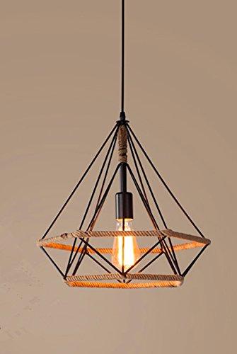 Beautiful KFI Simple Nordic rétro personnalité créative restaurant bar chandelier fer diamant chanvre chandelier seule tête, suspension réglable longueur de fil 1000mm de diamètre 250mm