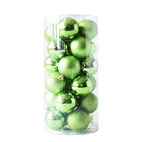 Gaddrt 24pcs Glänzender und polierter glatter Weihnachtsbaum-Ball verziert Dekorationen 2.4 '' (Grün)