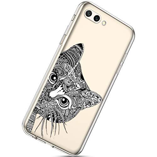 Handyhülle Kompatibel mit Huawei Honor 10 Schutzhülle Silikon hülle Transparent Ultradünn Clear Cover Handytasche Weich Durchsichtig Klar Schutzhülle Case Cover Tasche,Schwarz Katze