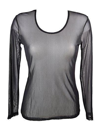 Miss Rouge: T-Shirt, Oberteil aus transparentem Gewebe Gr. Small, schwarz