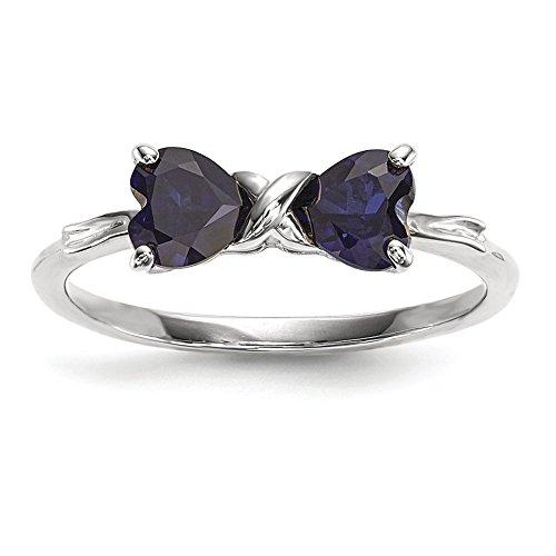 14K Weiß Gold Poliert Erstellt Saphir Schleife Ring größe 7xbs570 (Saphir-ring 7 Größe)