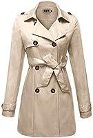 DJT Damen Lange Trenchcoat Mantel Outerwear Lange Jacke Zweireiher mit Guertel