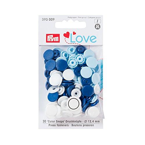 Prym Love Druckknopf Color KST 12,4 mm blau/weiß/hellblau, Polyester, Polyester-snap