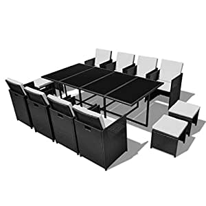 Ensemble de jardin en rotin table 8 chaises et 4 repose-pieds noir