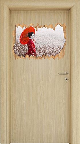 Geisha auf dem Feld Holzdurchbruch im 3D-Look , Wand- oder Türaufkleber Format: 62x42cm, Wandsticker, Wandtattoo, Wanddekoration