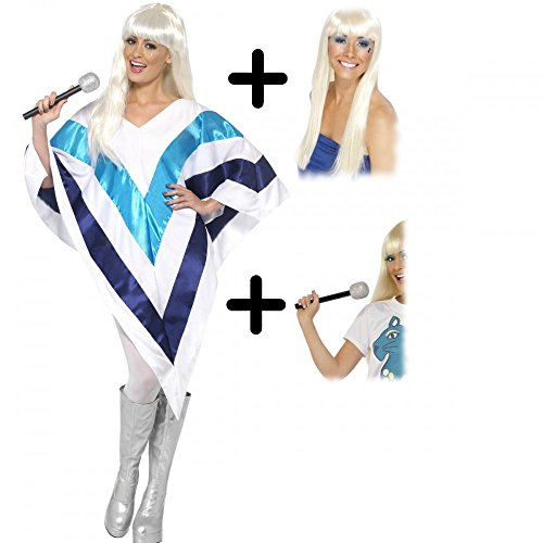 Super Trooper Cape / Poncho Adult Costume + Wig + Microphone.