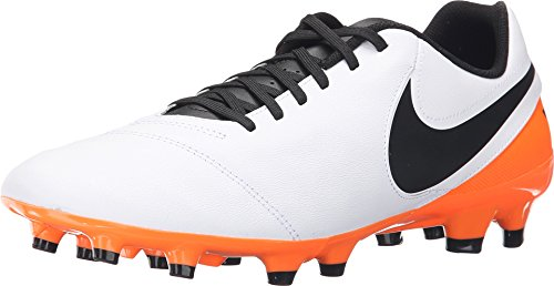 Nike Herren Tiempo Genio II Leather FG Fußballschuhe, Blanco (White/Black-Total Orange), 38,5 EU -