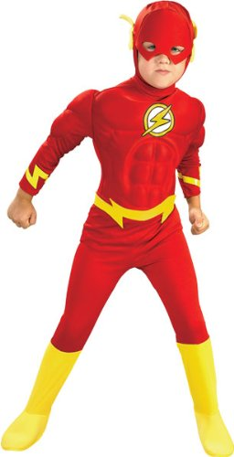 Original Lizenz Rotes The Flash Kinderkostüm Kostüm für Kinder der rote Blitz Flashkostüm Fasching Karneval Gr. L, M, S, Größe:M