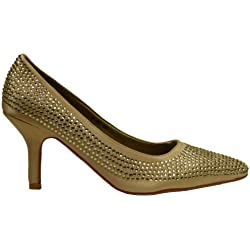 Damen Pumps Stilettos mit Strass - Glitzer High-Heels mit niedrigem Absatz (40, gold)