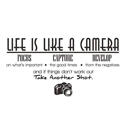 Das leben ist wie eine kamera fokus erfassen entwickeln kunst wandaufkleber pvc abnehmbare diy wohnkultur wasserdichte wohnzimmer abziehbilder 84x44 cm