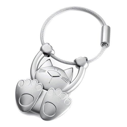Troika - Portachiavi a forma di gatto, in metallo cromato, opaco