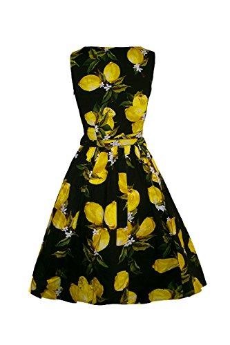 Monissy Damen Ärmellos Blumen Sommerkleid 1950er Retro Cocktailkleid  Petticoat Abendkleider Cocktailkleid Rockabilly Party Vintage Kleid (