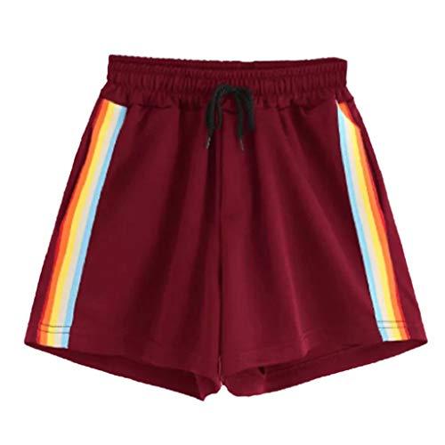 Damen Sommer Shorts Luckycat Kurze Sommerhosen Für Damen Gestreifte Banding Shorts mit hoher Taille Shorts Hose Sommerhosen Pants Hosen (Rot-03, S)