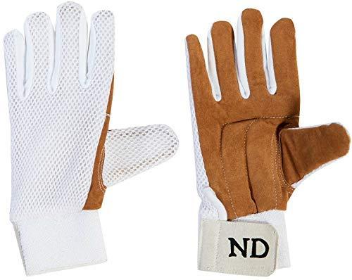ND Cricket Wicket-Keeper Gämse Ganzer Finger Innenhandschuhe Premium-Qualität Herren UK