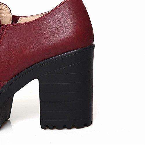 fbba51bf3eccce ... Mee Shoes Damen bequem modern populär runder toe Geschlossen dicker  Absatz Plateau Pumps Weinrot