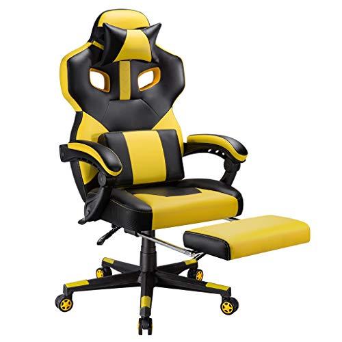 LANGRIA Sedia Gaming Ergonomica, Sedia da Ufficio per PC da Scrivania per Uso Professionale in Stile Racing con Inclinazione di 90-175 °, Poggiatesta Staccabile e Supporto Lombare (Giallo e Nero)
