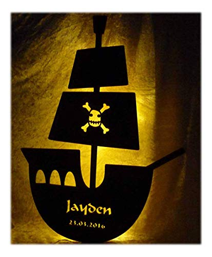 Led Piraten Geschenkidee individuell mit Namen personalisiert