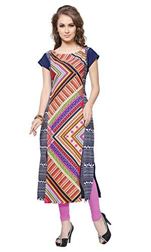 ZIYAA Women's Straight Crepe Kurta (ZIKUCR506-M_Multicoloured)
