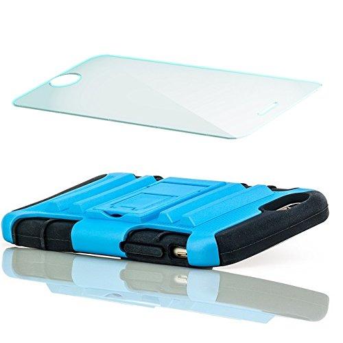 Saxonia Outdoor Hülle + Panzerglas Apple iPhone 6 / 6S Hybrid Silikon Schutzhülle Hardcase Handyhülle mit Standfuß Pink Schwarz-Hellblau