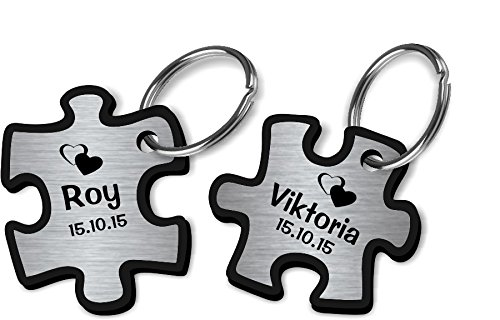 *Wunderschöner Partner Puzzle Schlüsselanhänger Acryl Silber oder Gold inkl. Gravur Wunschname (silber)*