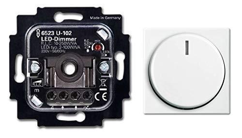 BUSCH-JÄGER, LED-Drehdimmer (LED Dimmer) 6523 U-102 (6523U 102) 6523U102 mit Zentralscheibe 2115-914 in Balance Si alpinweiß