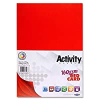 Premier Stationery A4 160 GSM Activity Card - Red (Pack of 50 Sheets)
