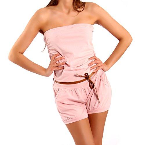 Damen Bandeau Jumpsuit Shorts Pump Overall Gürtel Rosa