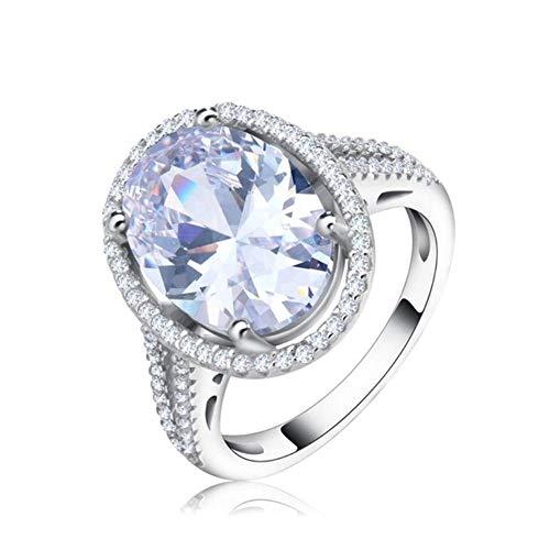 ZHOUYF RING Verlobungsringe Luxus Frauen Hochzeit & Verlobungsring 6Ct Große Oval Schneiden AAA Dazzling Cz Silber Farbe Gold-Farbe Ringe, 7#