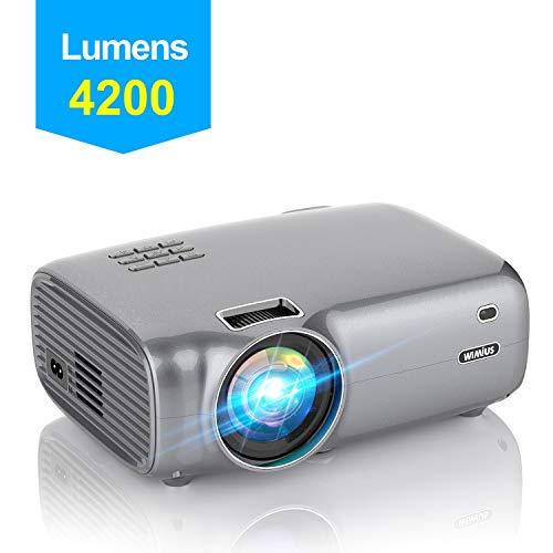 Videoproiettore,WiMiUS 4200 Lumen Mini Proiettore Portatile Nativa 1280*720P Suppoto 1080P Full HD LED Proiettore Con 200'' Display Multimedia Proiettore per Smartphone,PC con TV/AV/VGA/USB/HDMI