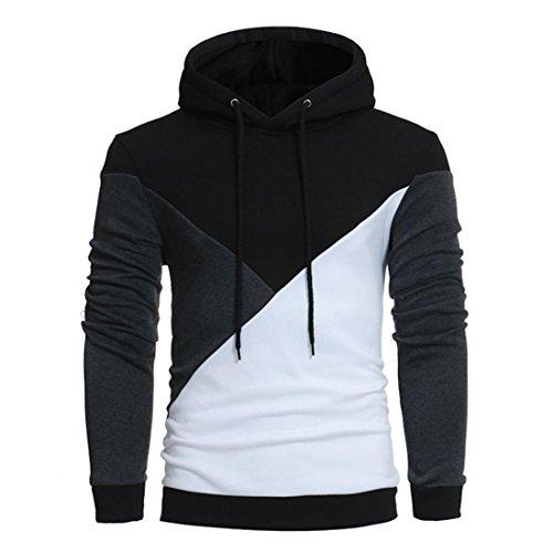 Hoodie Sweatshirt Herren Btruely Herbst Winter Lose Patchwork Pullover Langarm Outwear Bluse (L, Schwarz) (Seine Ihrs Pullover)