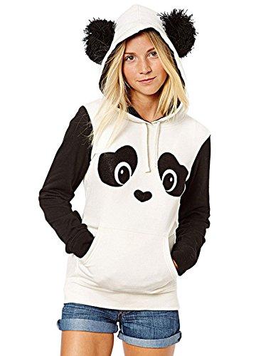 Nlife Frauen-nette Baumwollblend-lange (Hoodie Panda)