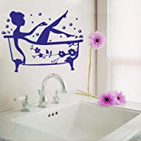 Bathroom Art Decal Bath Time Removable Vinyl Wall Sticker shower Tile wall decal