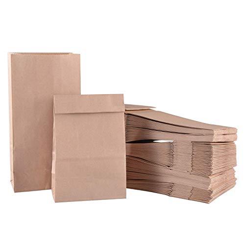 Papiertüten, Braun Tütchen, Kraftpapier Tüten, Papierbeutel Geschenktüten Papier Recycelbar für Hamburger Sandwich Mitnehmen Mittagessen Brot Keks Süßigkeiten 20PCS (ölbeständig 180x110x320mm) - Mittagessen Tasche Braun