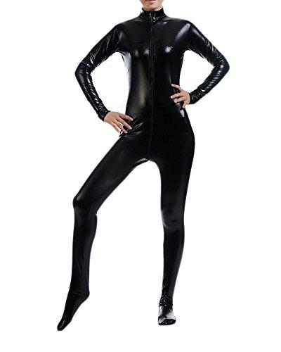 Damen Katzenkostüm Catwoman Kostüm Overallkostüm Ganzanzug Ganzkörperanzug Catlady Catsuit Schwarz XXL (Erwachsenen Schwarzen Catsuit Kostüme)