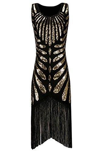 Metme Frauen der 20er Jahre mit Fransen Paisley ärmellose Vintage Flapper Gatsby Kleid für Abschlussball (Kostüme 40's Roaring)