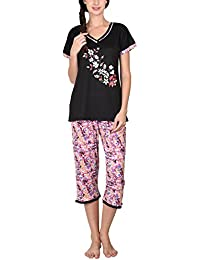 Go Glam Women's Nightsuit Set (Black and Pink)