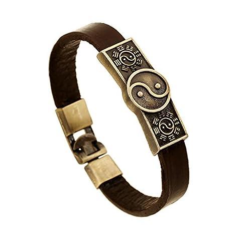 Gnzoe Jewelry, Men/Womens Leather Bracelet Bead Bangle Cuff Taiji Yin-Yang Of Chinese Wind