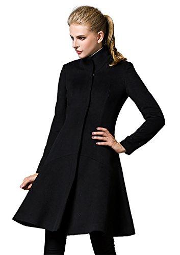 Donna wool coat giubbotto (small, nero)